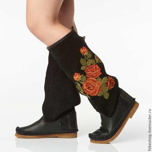 Обувь ручной работы. Ярмарка Мастеров - ручная работа. Купить Зимние сапоги с вышевкой ROSA /черные/. Handmade. Черный