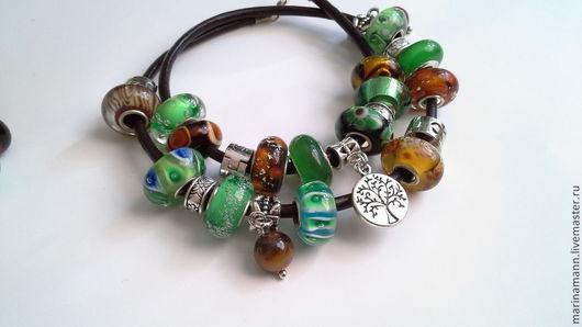 """Браслеты ручной работы. Ярмарка Мастеров - ручная работа. Купить """"Двойной мятный"""", кожаный плетеный браслет в стиле Pandora. Handmade."""
