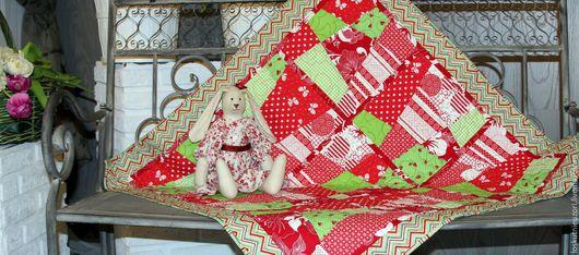 Для новорожденных, ручной работы. Ярмарка Мастеров - ручная работа. Купить Одеяло для девочки красно-зеленое. Handmade. Комбинированный
