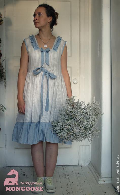 Платья ручной работы. Ярмарка Мастеров - ручная работа. Купить Платье льняное морское. Handmade. Белый, платье, льняная одежда