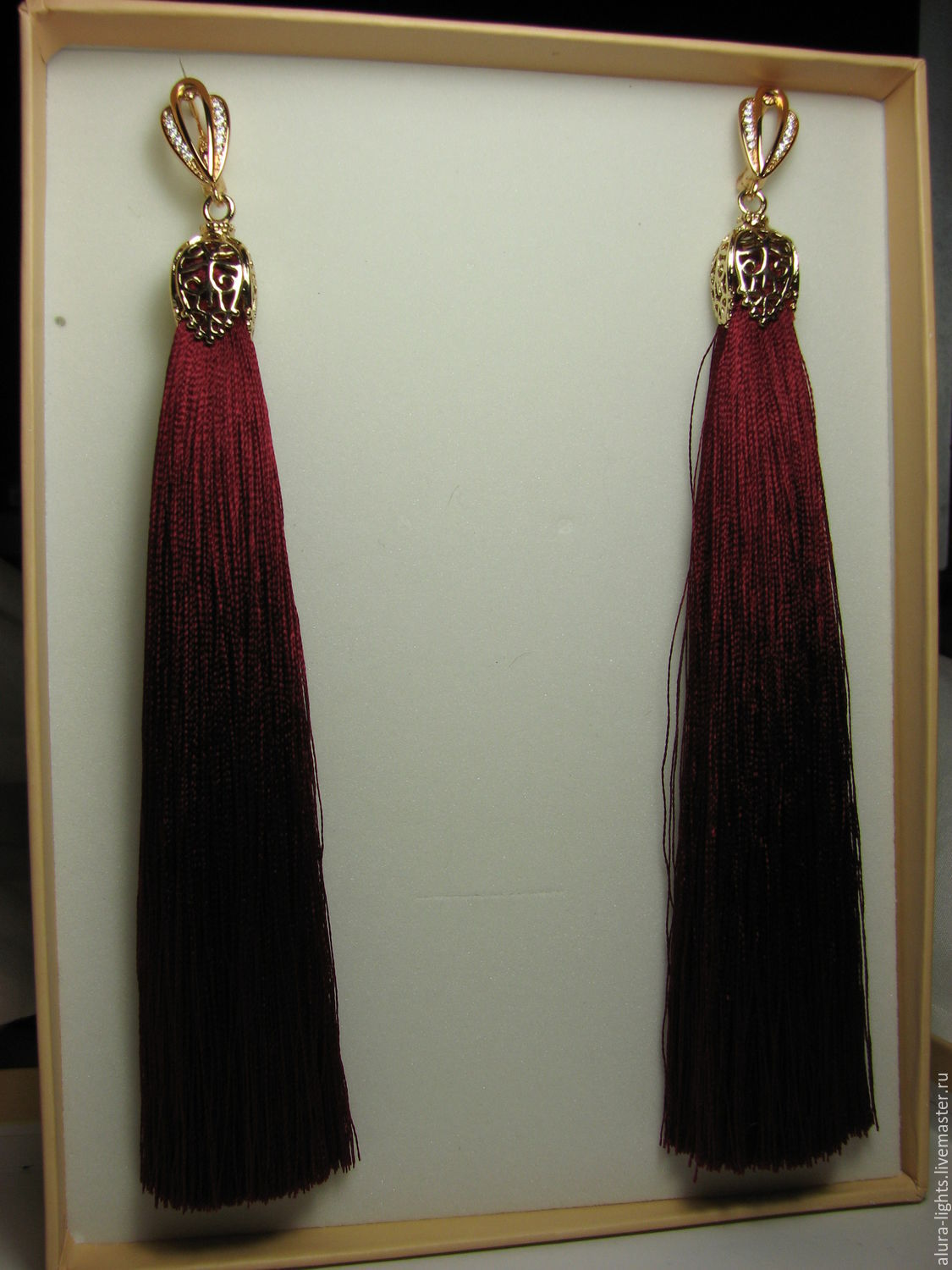 Earrings tassels long 'Noble Bordeaux', Tassel earrings, Moscow,  Фото №1