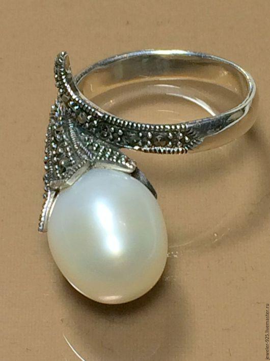 """Кольца ручной работы. Ярмарка Мастеров - ручная работа. Купить Кольцо в стиле Vintage """"Диво"""", жемчуг, марказит, серебро 925. Handmade."""