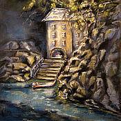 Картины и панно handmade. Livemaster - original item pastel painting of a house by the water. Handmade.
