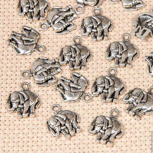 """Для украшений ручной работы. Ярмарка Мастеров - ручная работа. Купить 309065 Подвеска металлическая """"Слон"""" 1,4х1,6см (серебро). Handmade."""