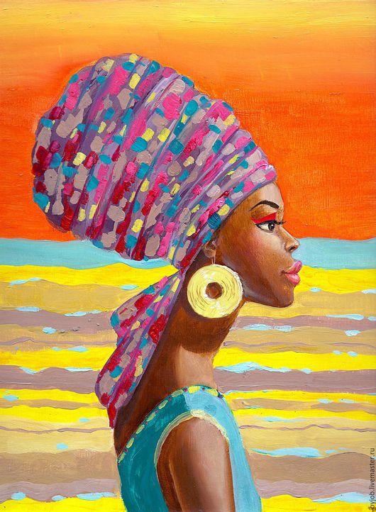 """Этно ручной работы. Ярмарка Мастеров - ручная работа. Купить Картина маслом """"Африканка"""".. Handmade. Комбинированный, картина в подарок"""