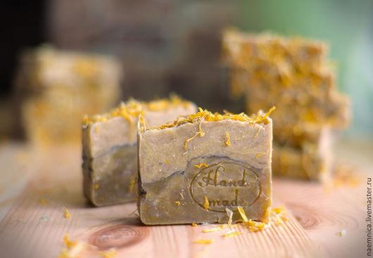 """Мыло ручной работы. Ярмарка Мастеров - ручная работа. Купить """"Календула"""" натуральное мыло с нуля. Handmade. Желтый, полезное мыло"""