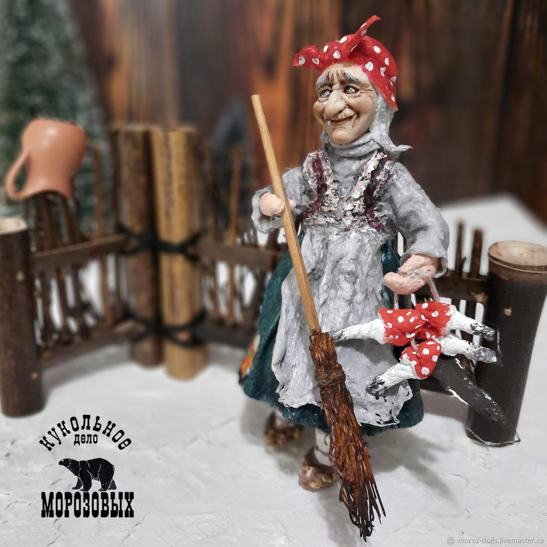 Ватная игрушка  «Баба-Яга» (в зеленой юбке), Интерьерная кукла, Лосино-Петровский,  Фото №1