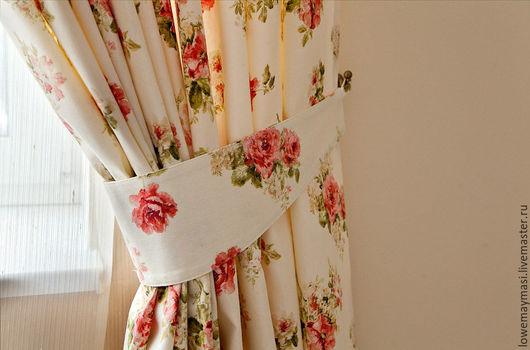 Текстиль, ковры ручной работы. Ярмарка Мастеров - ручная работа. Купить Шторы хлопковые с подхватом Цветочный сад. Handmade. Бежевый