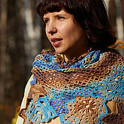 Аксессуары handmade. Livemaster - original item Knitted shawl-shawl scarf for autumn leaves Blue Brown. Handmade.