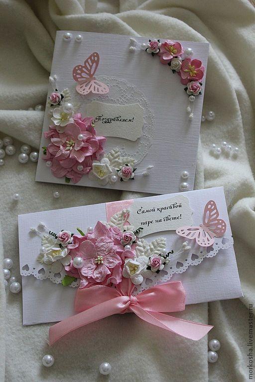 Свадебные открытки ручной работы. Ярмарка Мастеров - ручная работа. Купить Розовая мечта. Handmade. Бледно-розовый, свадебная открытка