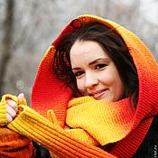 Аксессуары ручной работы. Ярмарка Мастеров - ручная работа Снуд вязаный шарф длинный красный, желтый, оранжевый, рыжий, бордовый. Handmade.