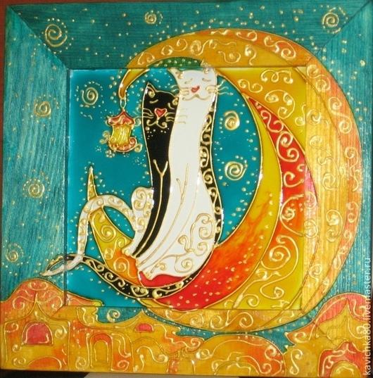 Животные ручной работы. Ярмарка Мастеров - ручная работа. Купить Коты на луне (роспись стекла). Handmade. Картина, Кошки
