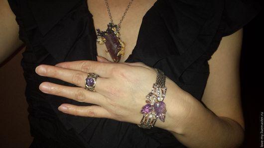 Кулоны, подвески ручной работы. Ярмарка Мастеров - ручная работа. Купить Колье, кольцо, браслет с аметистом. Серебро, чернение, позолота. Handmade.