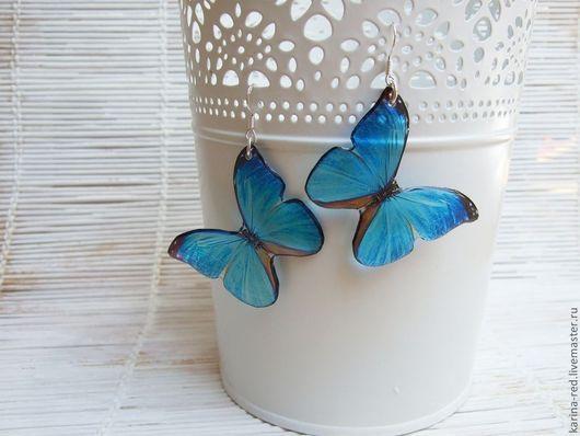 Серьги ручной работы. Ярмарка Мастеров - ручная работа. Купить Прозрачные Серьги  Голубые Бабочки. Handmade. Купить крупные серьги