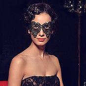 Одежда ручной работы. Ярмарка Мастеров - ручная работа Кожаная маска Черное кружево. Handmade.