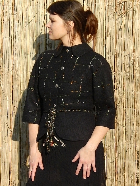 """Пиджаки, жакеты ручной работы. Ярмарка Мастеров - ручная работа. Купить Жакет """"Блики на черном"""". Handmade. Черный"""