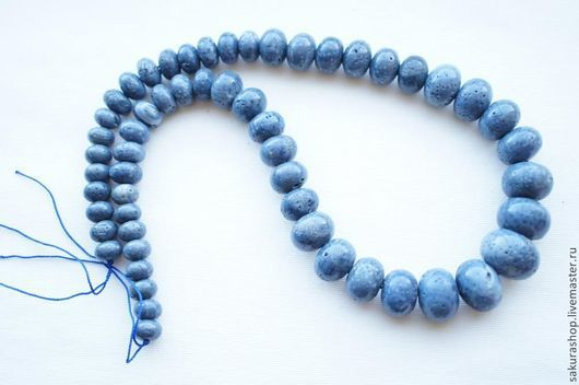 Для украшений ручной работы. Ярмарка Мастеров - ручная работа. Купить Коралл голубой набор для колье рондель от 21х15мм до 10х8мм. Handmade.