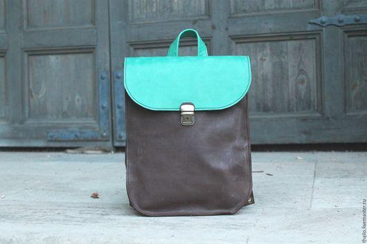 Рюкзаки ручной работы. Ярмарка Мастеров - ручная работа. Купить Рюкзак арт.299/шоколад+бирюза. Handmade. Разноцветный, коричневый, сумка женская