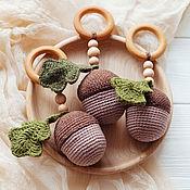 Работы для детей, handmade. Livemaster - original item Copy of Copy of Copy of Wooden teething ring with crochet fish. Handmade.