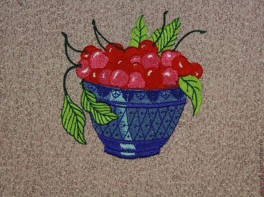 """Аппликации, вставки, отделка ручной работы. Ярмарка Мастеров - ручная работа. Купить Вышивка-картина  """"Корзина с вишнями"""" в любом цвете. Handmade."""