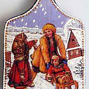Для дома и интерьера ручной работы. Ярмарка Мастеров - ручная работа На горке зимой Доска разделочная. Handmade.