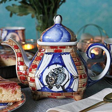 """Посуда ручной работы. Ярмарка Мастеров - ручная работа Чайник заварочный фарфоровый """"Совушки"""". Handmade."""