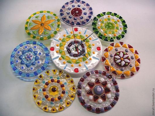 """Часы для дома ручной работы. Ярмарка Мастеров - ручная работа. Купить Часы """"Миллефиори"""", фьюзинг. Handmade. Часы настенные, часы"""