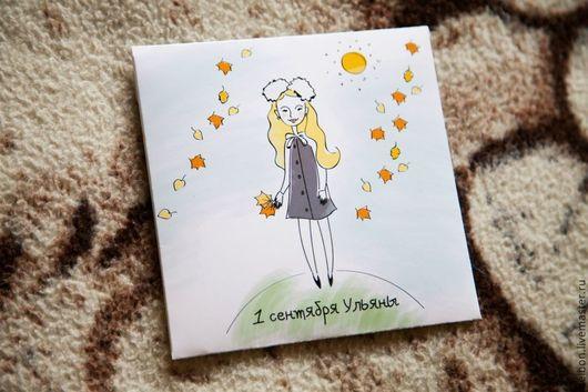 """Фото и видео услуги ручной работы. Ярмарка Мастеров - ручная работа. Купить Конверт для диска """"1 сентября Ульяны"""". Handmade."""