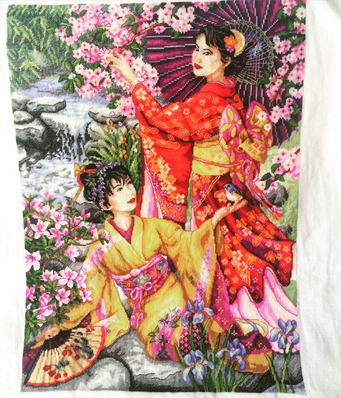 схема японской вышивки гейши