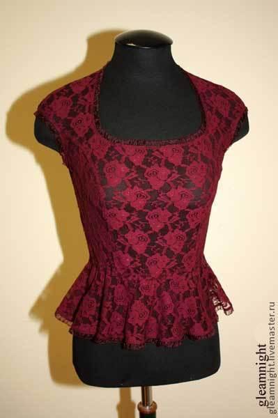 Блузки ручной работы. Ярмарка Мастеров - ручная работа. Купить Кружевная блузка с баской. Handmade. Бордовый, блузка летняя, резинка