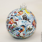 """Подарки к праздникам ручной работы. Ярмарка Мастеров - ручная работа Елочный шар """"Снегири"""". Handmade."""
