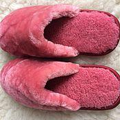 Обувь ручной работы handmade. Livemaster - original item Mouton fur Slippers pink. Handmade.