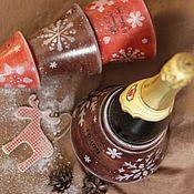 """Подарки к праздникам ручной работы. Ярмарка Мастеров - ручная работа Короб для бутылки """"Christmas tree rustic style"""". Handmade."""
