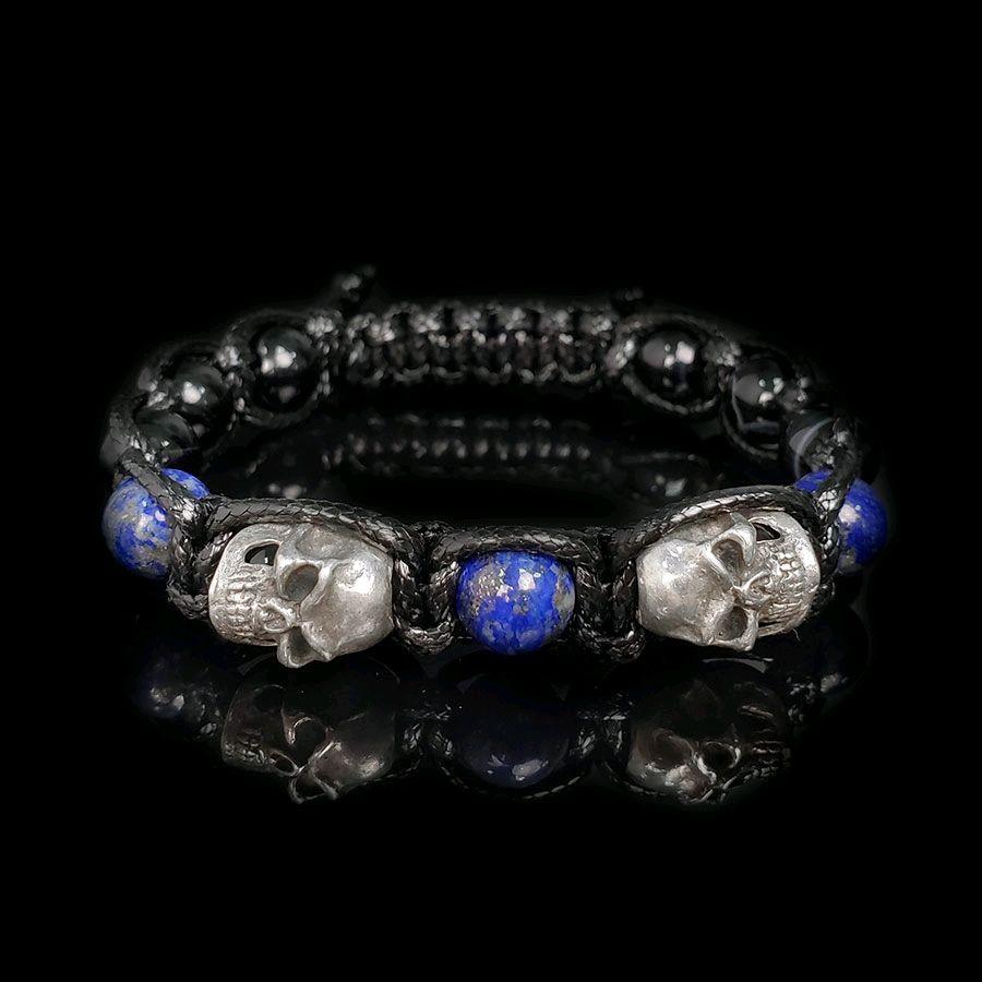 Мужской браслет из натурального камня Лазурит череп, Браслет из бусин, Москва,  Фото №1