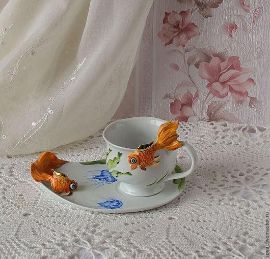"""Сервизы, чайные пары ручной работы. Ярмарка Мастеров - ручная работа. Купить Чайная пара с росписью"""" Золотая рыбка"""". Handmade."""