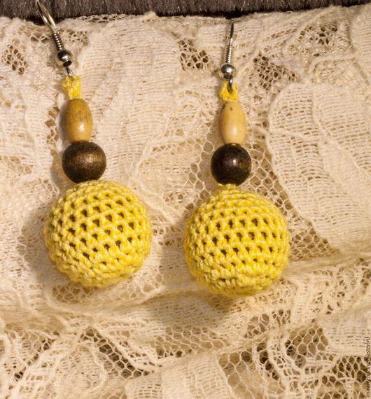 """Серьги ручной работы. Ярмарка Мастеров - ручная работа. Купить Серьги """"Желтые шарики"""". Handmade. Желтый, серьги ручной работы"""