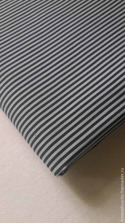 Шитье ручной работы. Ярмарка Мастеров - ручная работа. Купить Ткань в полоску ( Италия). Handmade. Тёмно-синий, ткань