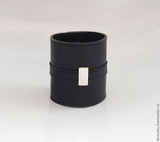 """Браслеты ручной работы. Ярмарка Мастеров - ручная работа. Купить Широкий браслет из кожи """"Style"""".. Handmade. Черный, кожаный браслет"""