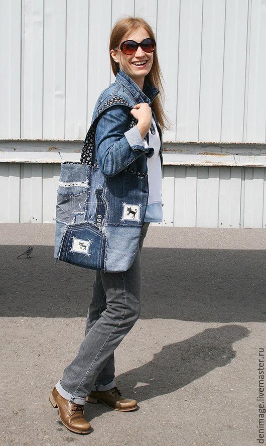 Женские сумки ручной работы. Ярмарка Мастеров - ручная работа. Купить Джинсовая сумка с котами. Handmade. Тёмно-синий