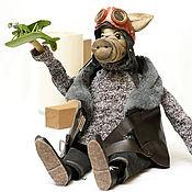 Мягкие игрушки ручной работы. Ярмарка Мастеров - ручная работа Свинья пилот. Свин лётчик. Оригинальный подарок. Handmade.