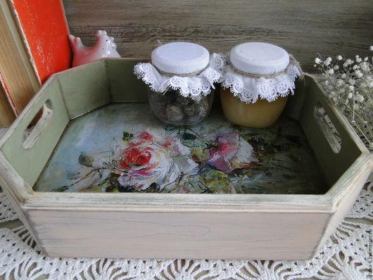 Кухня ручной работы. Ярмарка Мастеров - ручная работа. Купить Небольшой поднос с розами. Handmade. Бледно-розовый, поднос из дерева