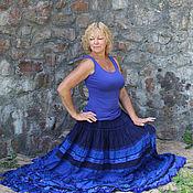 Одежда ручной работы. Ярмарка Мастеров - ручная работа Ночное небо. Ярко синяя многоярусная юбка в стиле бохо.. Handmade.