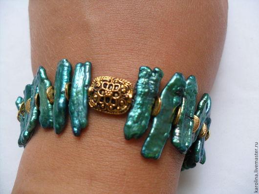 Браслеты ручной работы. Ярмарка Мастеров - ручная работа. Купить браслет Изумруд. Handmade. Зеленый, жемчуг речной