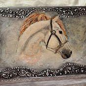 """Для дома и интерьера ручной работы. Ярмарка Мастеров - ручная работа Короб для вина """"Лошадь в серебре"""". Handmade."""