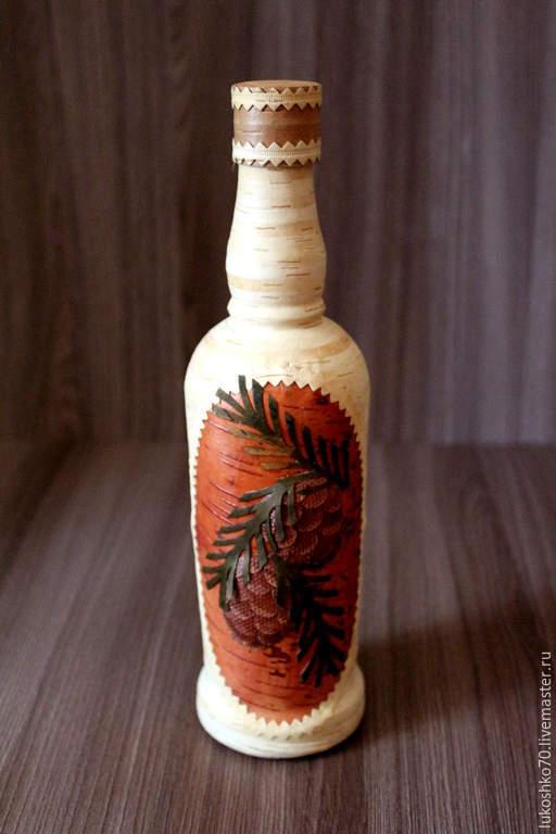 Декоративная посуда ручной работы. Ярмарка Мастеров - ручная работа. Купить Бутылка для водки коньяка декорированная берестой. Handmade.