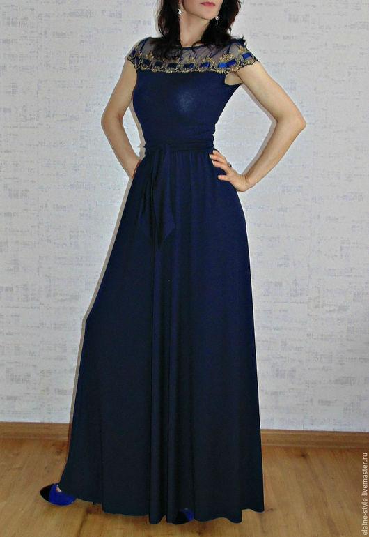 Платья ручной работы. Ярмарка Мастеров - ручная работа. Купить Платье-костюм ,,Ультрамарин,,. Handmade. Тёмно-синий, вечернее платье