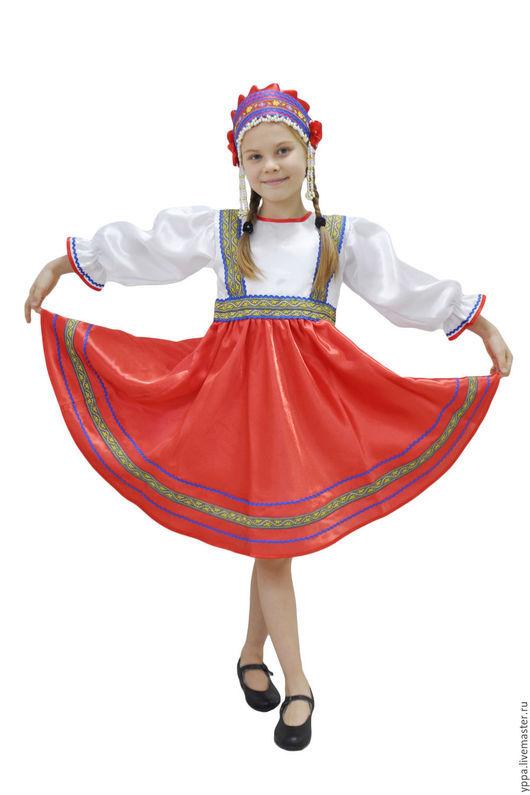 """Одежда ручной работы. Ярмарка Мастеров - ручная работа. Купить Платье атлас """"Светлана"""". Handmade. Сарафан для девочки, кокошник, тесьма"""