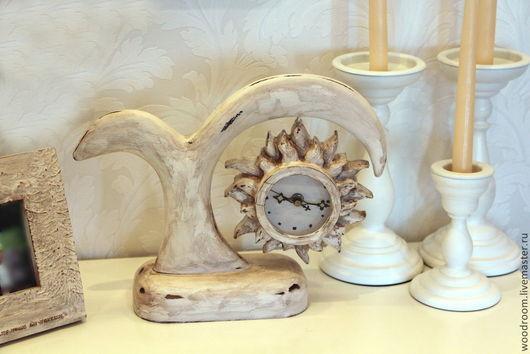 """Часы для дома ручной работы. Ярмарка Мастеров - ручная работа. Купить Винтажные часы """"Фонтан и солнце"""", цвета слоновой кости.. Handmade."""