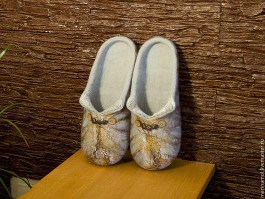 """Обувь ручной работы. Ярмарка Мастеров - ручная работа. Купить Женские валяные тапочки """"Кошачий окрас"""". Handmade. Валяные тапочки"""
