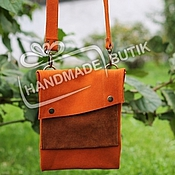 Сумки и аксессуары handmade. Livemaster - original item Bag, pouch made of natural orange and red suede. Handmade.